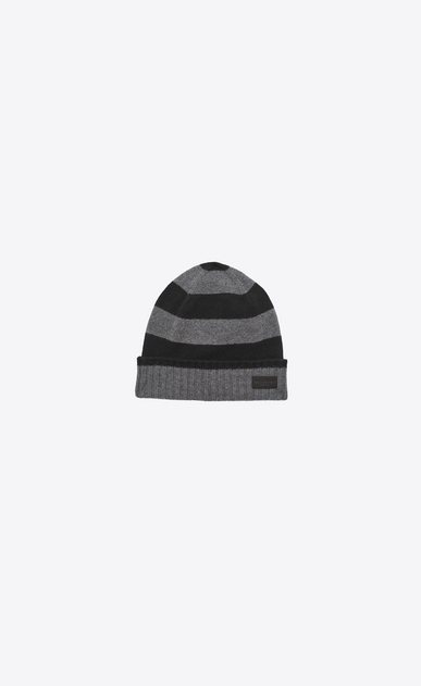 SAINT LAURENT Hats U Knit Hat in Black and Grey Collegiate Striped Cashmere a_V4