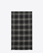 SAINT LAURENT Large scarves U Signature Pleated Scarf in Black and Grey Plaid Wool, Cashmere and Silk Flannel Jacquard f
