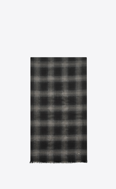 SAINT LAURENT Large scarves U Signature Pleated Scarf in Black and Grey Plaid Wool, Cashmere and Silk Flannel Jacquard a_V4