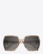 SAINT LAURENT Occhiale da Sole D MONOGRAM M2 Sunglasses in Transparent Powder Acetate and Silver Metal with Flash Silver Lenses f