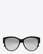 SAINT LAURENT MONOGRAM SUNGLASSES D MONOGRAM M3 Sunglasses in Shiny Black Acetate and Silver Metal with White Mirrored Lenses f