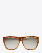 SAINT LAURENT Occhiale da Sole E new wave 1 sunglasses in shiny light havana acetate with silver mirrored lenses f