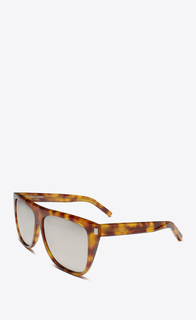 SAINT LAURENT NEW WAVE E Occhiali da sole new wave 1 color havana blonde lucidi in acetato con lenti extra-bianche a specchio b_V4