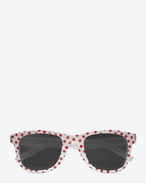 SAINT LAURENT Sonnenbrille E CLASSIC 51 Sunglasses in Shiny Red Star Printed Acetate with Grey Lenses  f