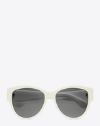 SAINT LAURENT Occhiale da Sole D MONOGRAM M3 Sunglasses in Shiny Ivory Acetate and Gold Metal with Grey Lenses f