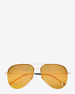 SAINT LAURENT Sunglasses E MONOGRAM M11 Sunglasses in Shiny Gold and Gold Metal with Bronze Mirrored Lenses  f