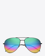 SAINT LAURENT CLASSIC E CLASSIC 11 Aviator Sunglasses in Matte Black Metal with Rainbow Mirrored Lenses f