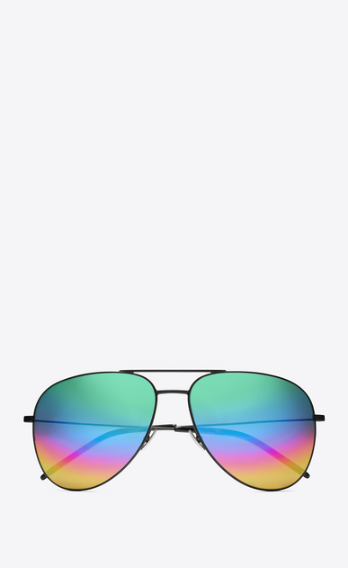 SAINT LAURENT CLASSIC E CLASSIC 11 Aviator Sunglasses in Matte Black Metal with Rainbow Mirrored Lenses a_V4