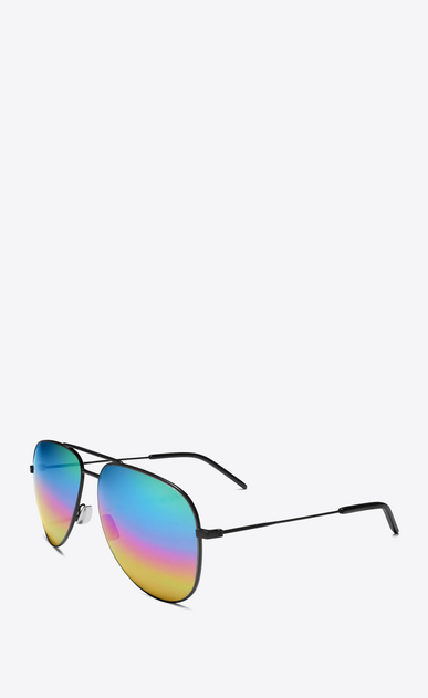 SAINT LAURENT CLASSIC E CLASSIC 11 Aviator Sunglasses in Matte Black Metal with Rainbow Mirrored Lenses b_V4