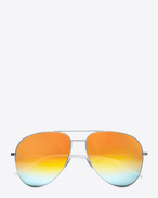 SAINT LAURENT CLASSIC E CLASSIC 11 Aviator Sunglasses in Shiny Silver Metal with Rainbow Mirrored Lenses f