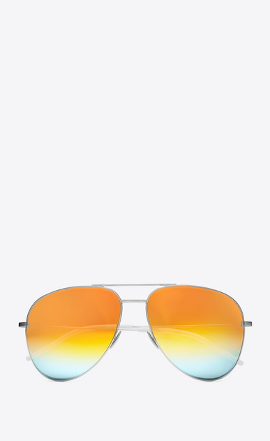 SAINT LAURENT CLASSIC E CLASSIC 11 Aviator Sunglasses in Shiny Silver Metal with Rainbow Mirrored Lenses a_V4