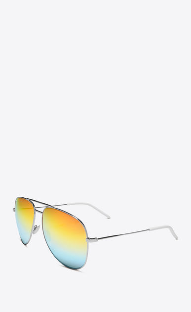 SAINT LAURENT CLASSIC E CLASSIC 11 Aviator Sunglasses in Shiny Silver Metal with Rainbow Mirrored Lenses b_V4