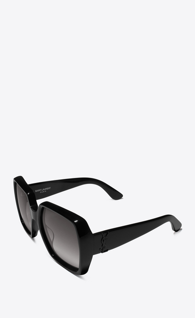 SAINT LAURENT Sunglasses D MONOGRAM M2 Sunglasses in Shiny Black Acetate and Matte Black Metal with Grey Gradient Lenses b_V4
