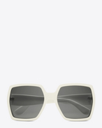 SAINT LAURENT MONOGRAM SUNGLASSES D MONOGRAM M2 Sunglasses in Shiny Ivory and Gold Metal with Grey Lenses f