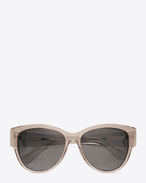 SAINT LAURENT Occhiale da Sole D MONOGRAM M3 Sunglasses in Transparent Powder Acetate and Silver Metal with Flash Silver Lenses f