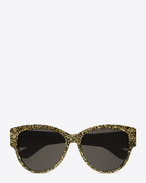 SAINT LAURENT MONOGRAM SUNGLASSES D MONOGRAM M3 Sunglasses in Gold Glitter Acetate and Gold Metal with Flash Silver Lenses f