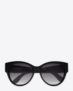 SAINT LAURENT MONOGRAM SUNGLASSES D MONOGRAM M3 Sunglasses in Shiny Black Acetate and Matte Black Metal with Grey Gradient Lenses f