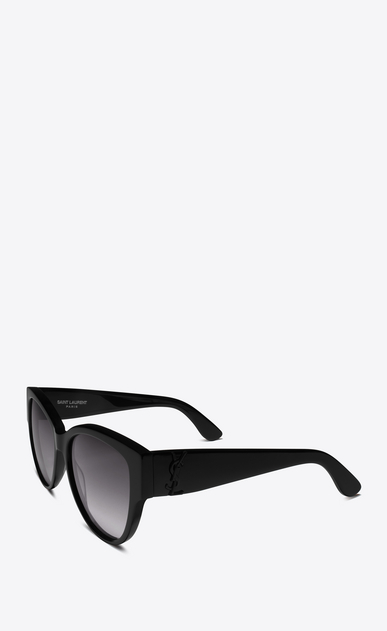 SAINT LAURENT MONOGRAM SUNGLASSES D MONOGRAM M3 Sunglasses in Shiny Black Acetate and Matte Black Metal with Grey Gradient Lenses b_V4