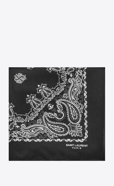 SAINT LAURENT Squared Scarves Woman bandana square scarf in black and white paisley printed silk a_V4