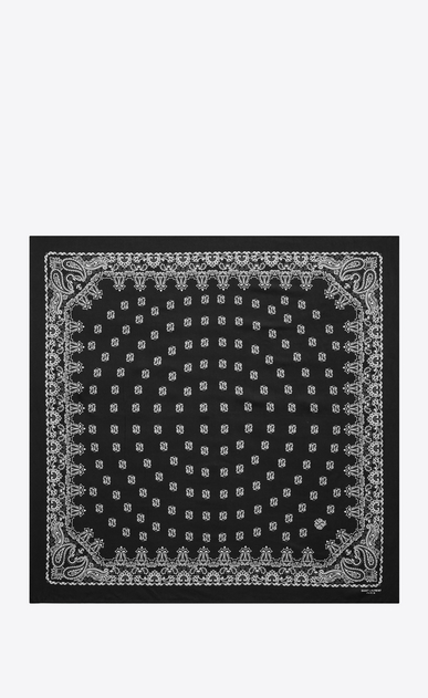 SAINT LAURENT Squared Scarves Woman bandana square scarf in black and white paisley printed silk b_V4