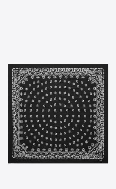 SAINT LAURENT Carrés D carré bandana en soie à imprimé cachemire noir et blanc b_V4