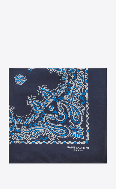 SAINT LAURENT Squared Scarves Woman bandana square scarf in blue and white paisley printed silk a_V4
