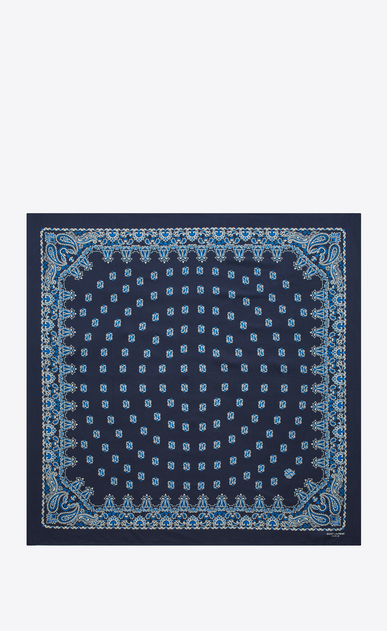 SAINT LAURENT Squared Scarves Woman bandana square scarf in blue and white paisley printed silk b_V4