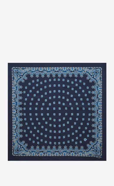 SAINT LAURENT Foulard Quadrati D foulard bandana blu e bianco in seta con stampa paisley b_V4