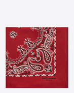 SAINT LAURENT Squared Scarves D bandana square scarf in red and white paisley printed silk f
