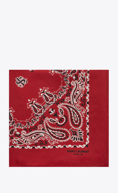 SAINT LAURENT Squared Scarves D bandana square scarf in red and white paisley printed silk a_V4