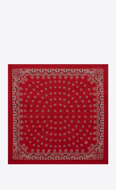 SAINT LAURENT Squared Scarves D bandana square scarf in red and white paisley printed silk b_V4