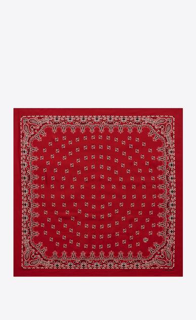 SAINT LAURENT Carrés D carré bandana en soie à imprimé cachemire rouge et blanc b_V4