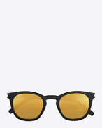SAINT LAURENT CLASSIC E classic 28 sunglasses in shiny black acetate with gold mirrored lenses f