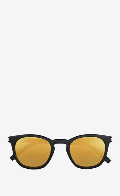 SAINT LAURENT CLASSIC E classic 28 sunglasses in shiny black acetate with gold mirrored lenses a_V4