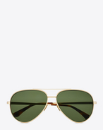 SAINT LAURENT CLASSIC E classic 11 zero sunglasses in shiny gold metal with green lenses  f
