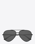 SAINT LAURENT Sunglasses E classic 11 zero sunglasses in semi matte black metal with silver mirrored lenses  f