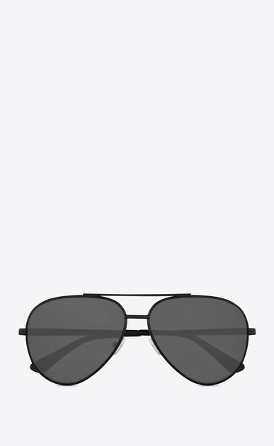 SAINT LAURENT CLASSIC E classic 11 zero sunglasses in semi matte black metal with silver mirrored lenses a_V4