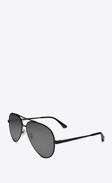 SAINT LAURENT CLASSIC E classic 11 zero sunglasses in semi matte black metal with silver mirrored lenses b_V4