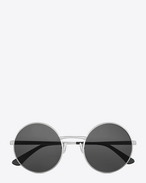 SAINT LAURENT Sunglasses E classic SL 136 zero sunglasses in shiny silver metal and grey lenses f