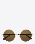 SAINT LAURENT CLASSIC E classic SL 136 zero sunglasses in semi matte antique gold metal and tobacco lenses f