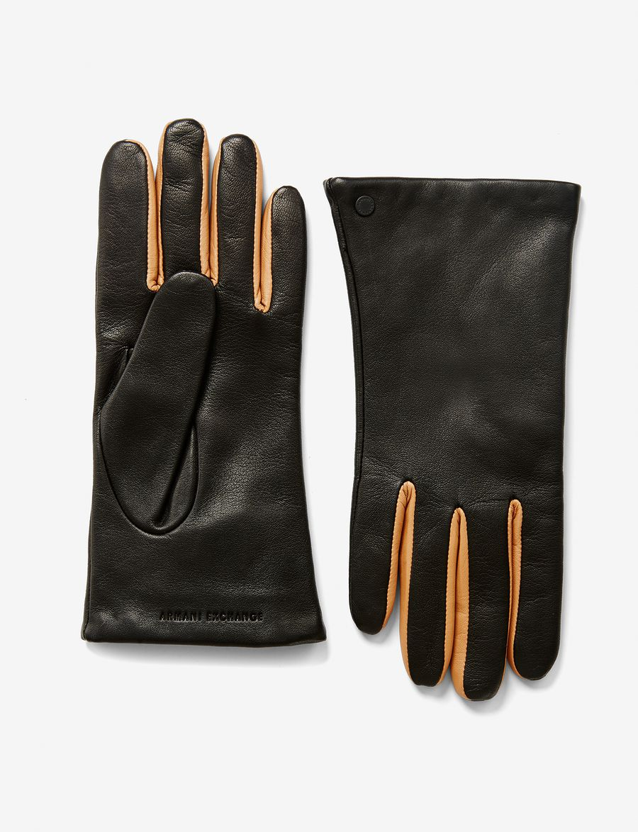 Armani exchange black leather gloves - Armani Exchange Two Tone Leather Glove Gloves For Women A X Online Store