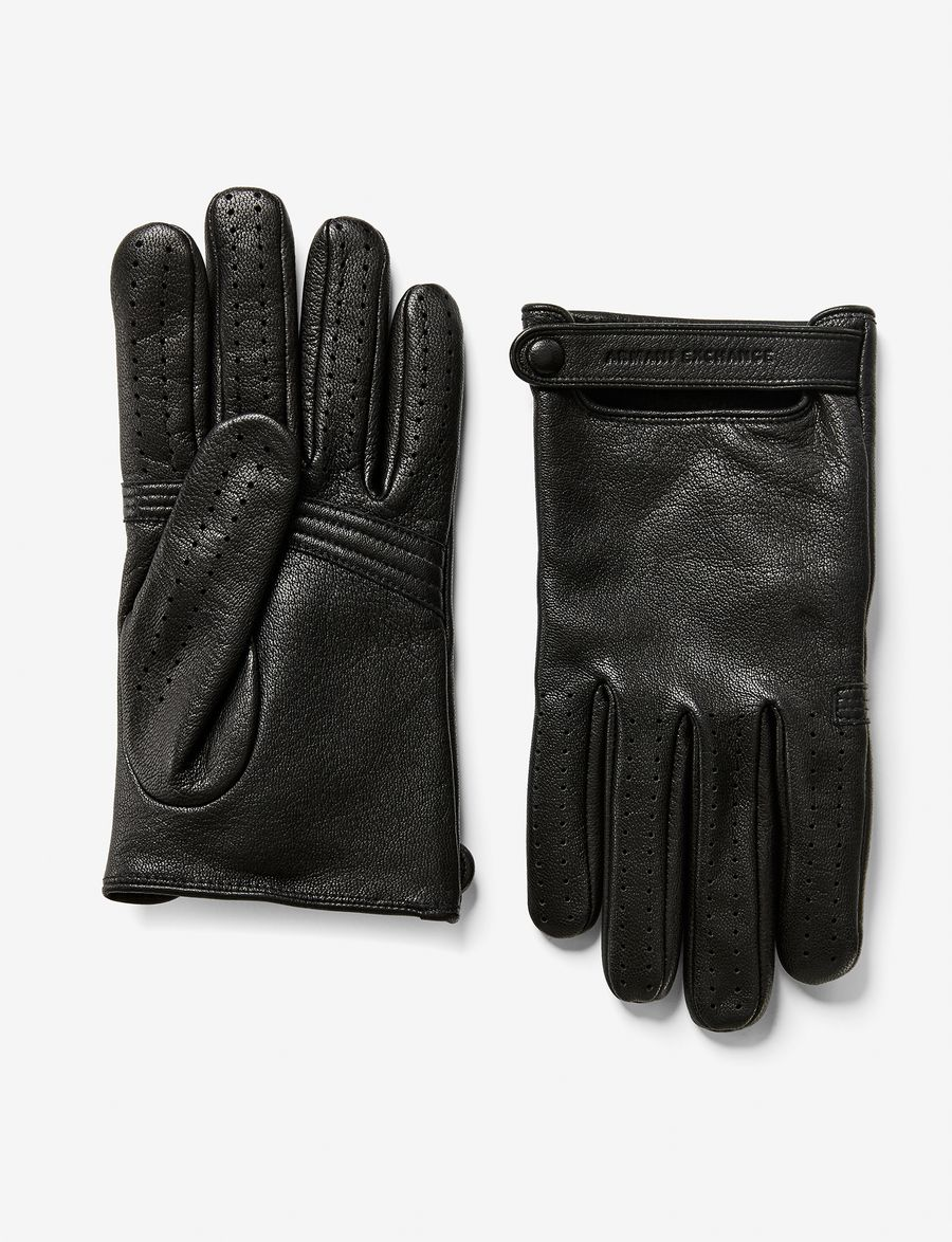 Armani exchange black leather gloves - Armani Exchange Leather Driving Glove Gloves For Men A X Online Store