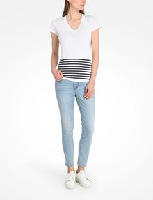 ARMANI EXCHANGE STRIPED V-NECK TEE Non-Logo Tee Woman a