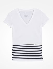 ARMANI EXCHANGE STRIPED V-NECK TEE Non-Logo Tee Woman b