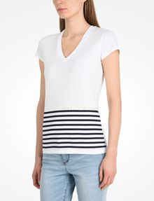 ARMANI EXCHANGE STRIPED V-NECK TEE Non-Logo Tee Woman d