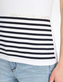 ARMANI EXCHANGE STRIPED V-NECK TEE Non-Logo Tee Woman e