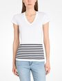 ARMANI EXCHANGE STRIPED V-NECK TEE Non-Logo Tee Woman f