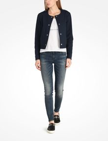 ARMANI EXCHANGE TEXTURED CROPPED COLLARLESS JACKET Jacket D a