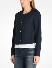ARMANI EXCHANGE TEXTURED CROPPED COLLARLESS JACKET Jacket D d