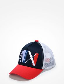 ARMANI EXCHANGE A|X ABSTRACT LOGO TRUCKER Hat U f